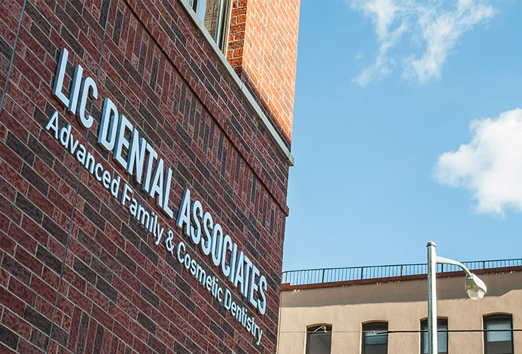 LIC Dental Associates sign on building wall