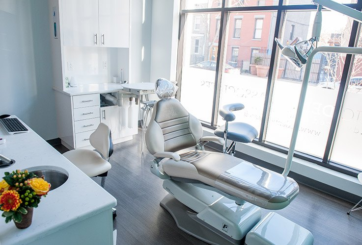 Comfortable dental exam room