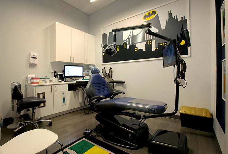 Comic book themed kids dental exam room