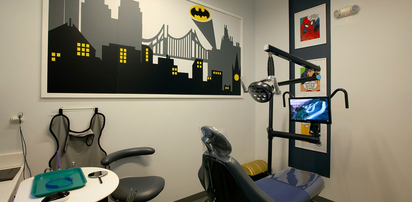Comic book themed dental exam room